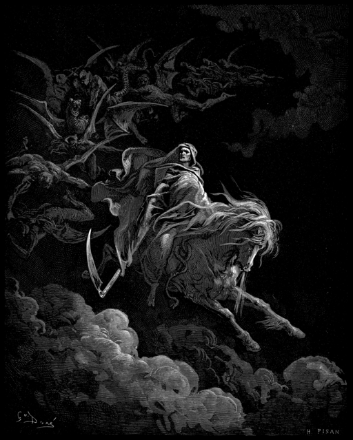 Pale horse, pale rider - the Apocalypse foretold in the book of revelations. (Gustave Doré [Public domain], via Wikimedia Commons)